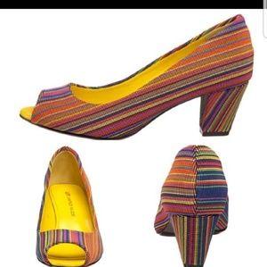 United Nude peep toe midi multi-colored shoes